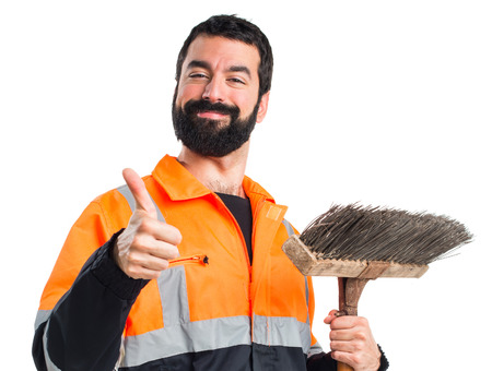 sweeper: Garbage man with thumb up