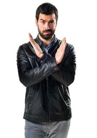 Man doing NO gesture