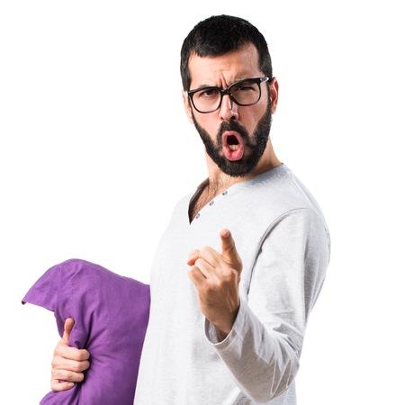 pajamas: Man in pajamas shouting