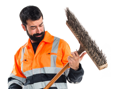 sweeper: Garbage man making guitar gesture Stock Photo
