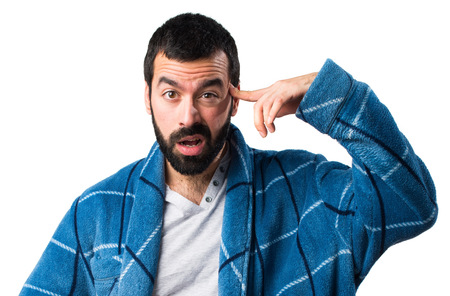 dressing gown: Man in dressing gown making crazy gesture