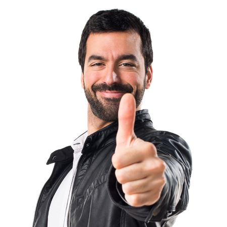 Man with leather jacket with thumb up