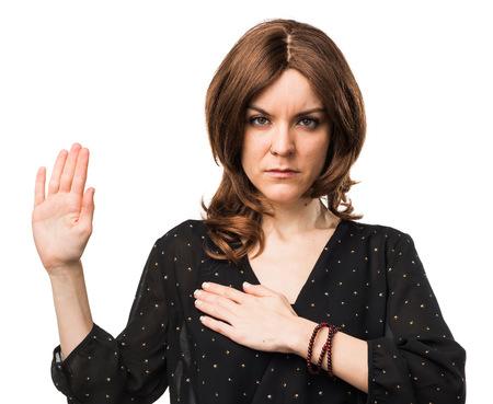 Woman doing oath