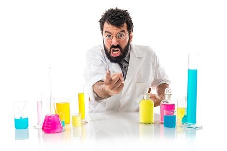 Scientist man shouting Stock Photo