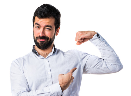 strong: Man making strong gesture