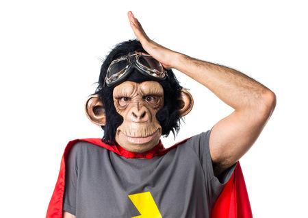el hombre mono superhéroe que tiene dudas Foto de archivo