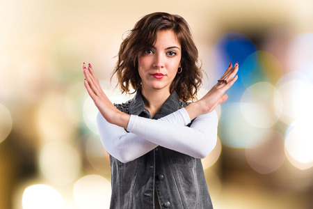 Woman doing NO gesture Stock Photo