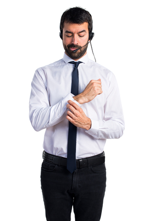 Young man with a headset