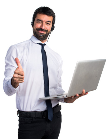 telemarketer: Handsome telemarketer man with thumb up Stock Photo