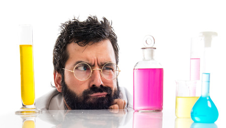 Crazy scientist man Stock Photo