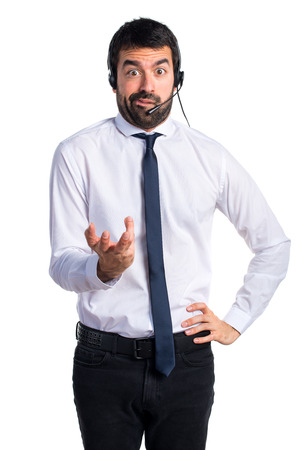 tired: Tired handsome telemarketer man