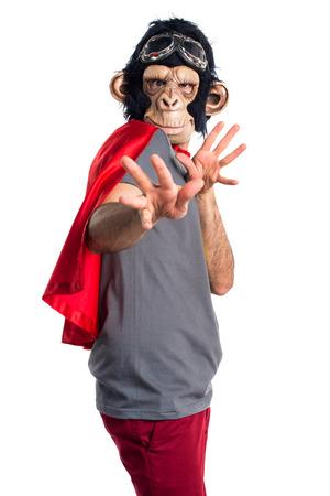 frightened: Frightened Superhero monkey man Stock Photo