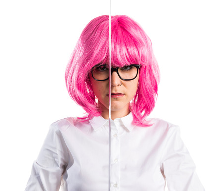 katana: Girl with pink hair holding a katana Stock Photo