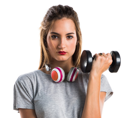 weightlifting: Young woman doing weightlifting