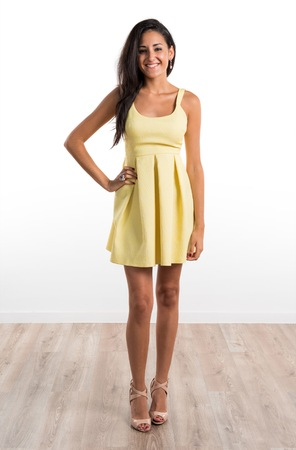 yellow dress: Pretty girl with yellow dress Stock Photo