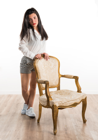 woman on couch: Model woman with vintage couch
