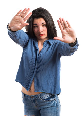 Girl doing NO gesture Stock Photo