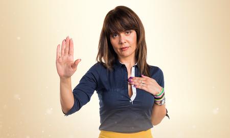 Pretty woman doing oath