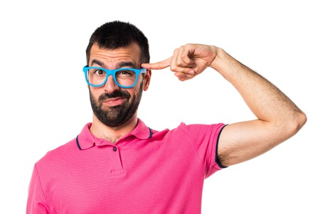 Man with colorful clothes making crazy gesture