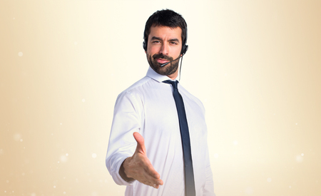 telemarketer: Handsome telemarketer man making a deal Stock Photo