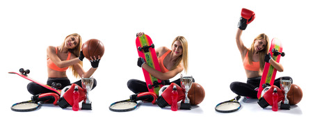 weightlifting gloves: Sport girl with a lot of sport items