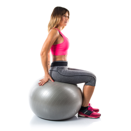 fitball: Sport woman with fit ball Stock Photo