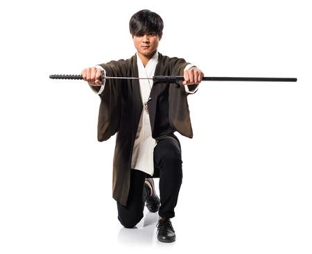 katana: Asian samurai man with katana