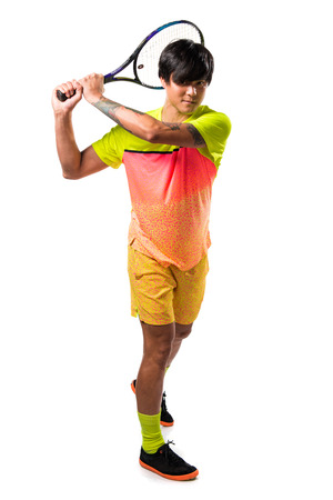 male tennis players: Asian tennis player man