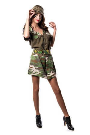 Beautiful young military girl Stock Photo