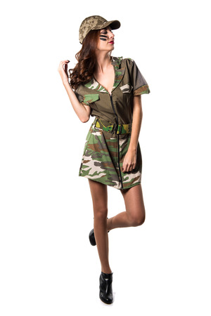 Beautiful young military girl Stock Photo
