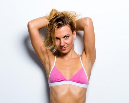 Sexy blonde girl in underwear Stock Photo
