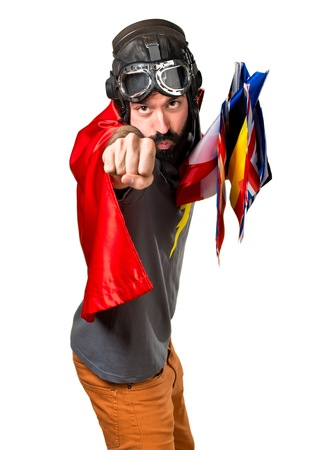 bilingual: Superhero with a lot of flags