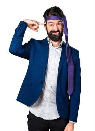 Crazy and drunk businessman making crazy gesture