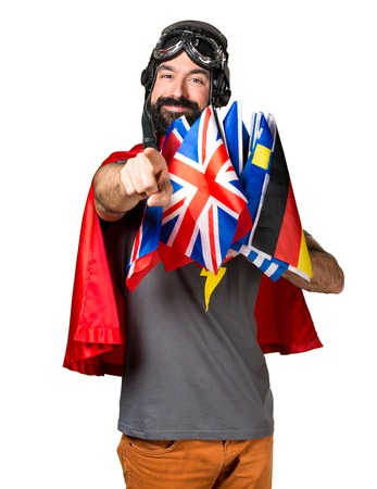 bilingual: Superhero with a lot of flags pointing to the front