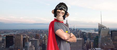 Superhero monkey man with his arms crossed Stock Photo
