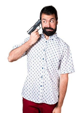 Handsome brunette man with beard cometing suicide