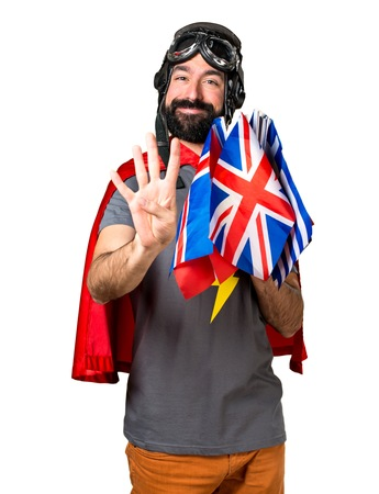 bilingual: Superhero with a lot of flags counting four