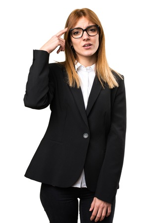 Young business woman making crazy gesture Stock Photo