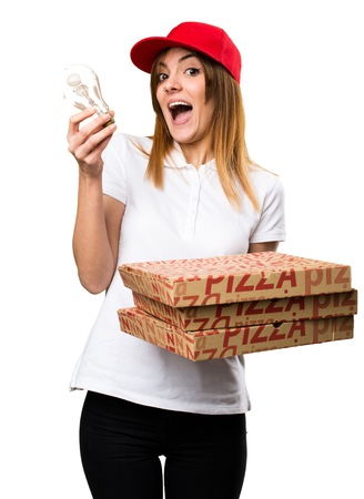 Pizza delivery woman holding a bulb