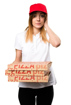 ignore: Pizza delivery woman covering her ears