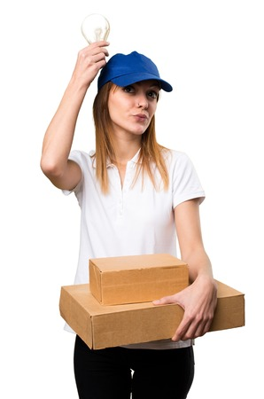 Delivery woman holding a bulb