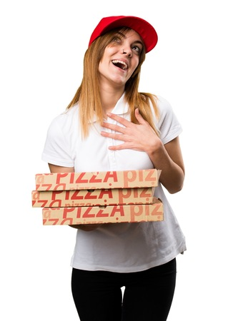 express positivity: Pizza delivery woman in love Stock Photo
