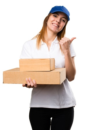 express positivity: Delivery woman with thumb up