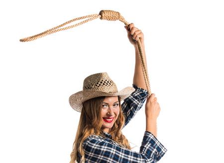 Sexy blonde Frau Cowgirl Standard-Bild - 75438943