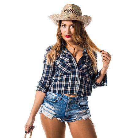 Sexy blonde Frau Cowgirl Standard-Bild - 75438966