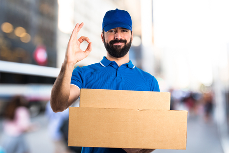 alright: Delivery man making OK sign