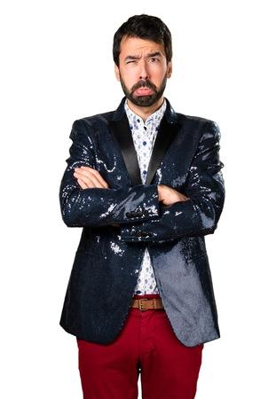 Sad man with jacket