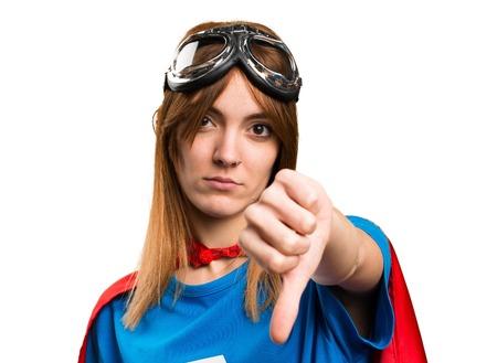 disapprove: Pretty superhero girl making bad signal