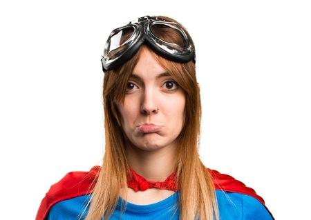 disapprove: Sad pretty superhero girl Stock Photo