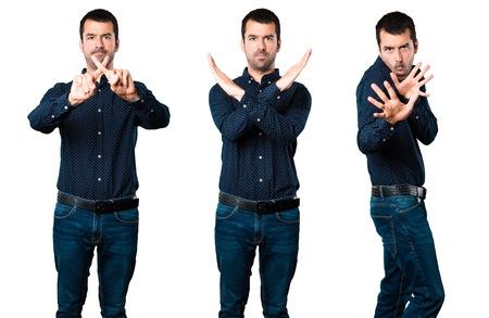 Set of Handsome man making NO gesture